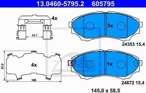 ATE 13.0460-5795.2 - Kit de plaquettes de frein, frein à disque www.widencarpieces.com