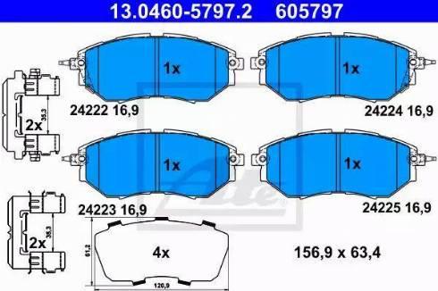 ATE 13.0460-5797.2 - Kit de plaquettes de frein, frein à disque www.widencarpieces.com