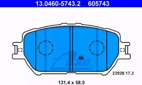 ATE 13.0460-5743.2 - Kit de plaquettes de frein, frein à disque www.widencarpieces.com