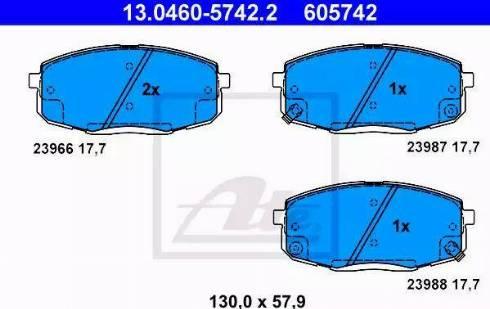 ATE 13.0460-5742.2 - Kit de plaquettes de frein, frein à disque www.widencarpieces.com