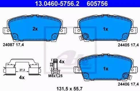 ATE 13.0460-5756.2 - Kit de plaquettes de frein, frein à disque www.widencarpieces.com