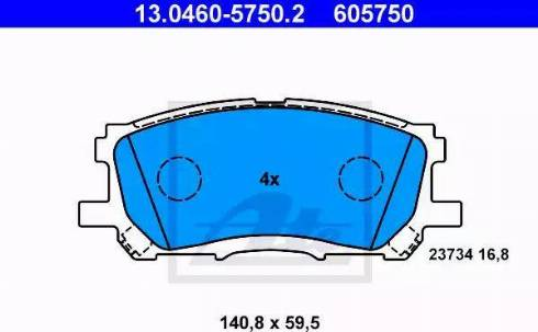 ATE 13.0460-5750.2 - Kit de plaquettes de frein, frein à disque www.widencarpieces.com
