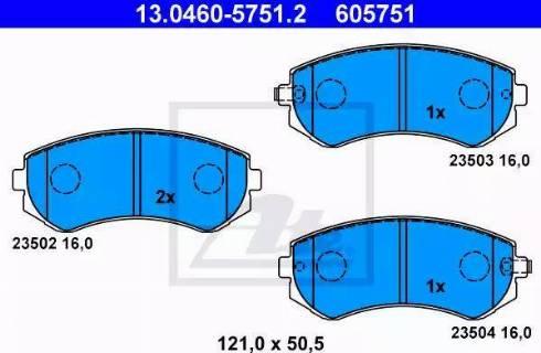 ATE 13.0460-5751.2 - Kit de plaquettes de frein, frein à disque www.widencarpieces.com