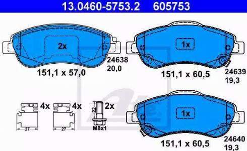 ATE 13.0460-5753.2 - Kit de plaquettes de frein, frein à disque www.widencarpieces.com