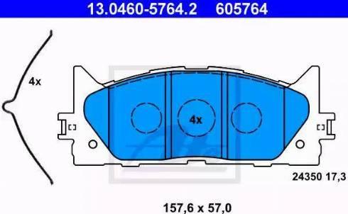 ATE 13.0460-5764.2 - Kit de plaquettes de frein, frein à disque www.widencarpieces.com