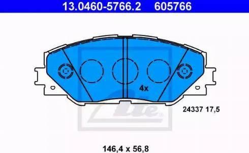 ATE 13.0460-5766.2 - Kit de plaquettes de frein, frein à disque www.widencarpieces.com