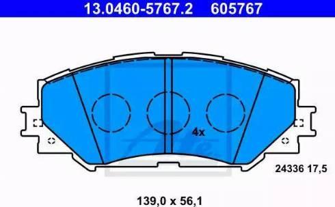 ATE 13.0460-5767.2 - Kit de plaquettes de frein, frein à disque www.widencarpieces.com