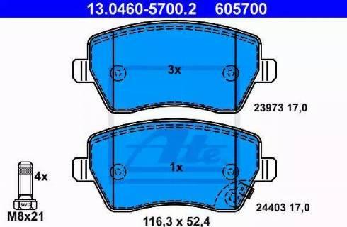 ATE 13.0460-5700.2 - Kit de plaquettes de frein, frein à disque www.widencarpieces.com