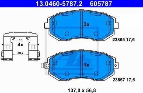 ATE 13.0460-5787.2 - Kit de plaquettes de frein, frein à disque www.widencarpieces.com