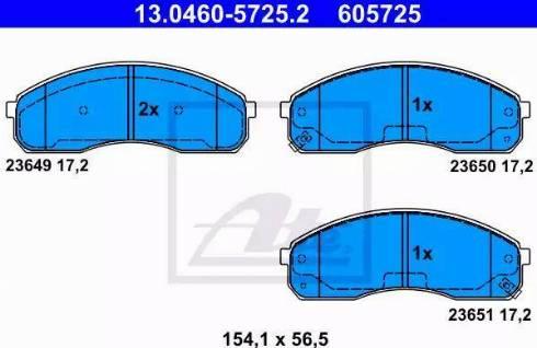 ATE 13.0460-5725.2 - Kit de plaquettes de frein, frein à disque www.widencarpieces.com