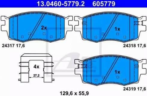 ATE 13.0460-5779.2 - Kit de plaquettes de frein, frein à disque www.widencarpieces.com
