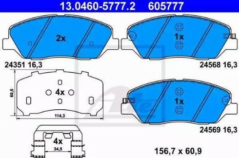 ATE 13.0460-5777.2 - Kit de plaquettes de frein, frein à disque www.widencarpieces.com
