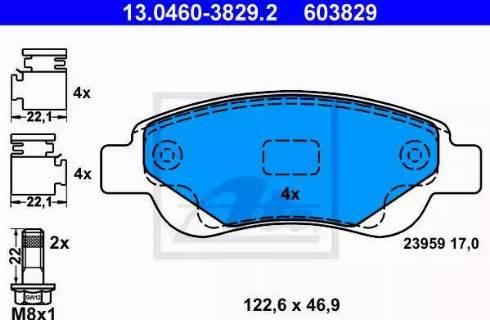 ATE 13.0460-3829.2 - Kit de plaquettes de frein, frein à disque www.widencarpieces.com