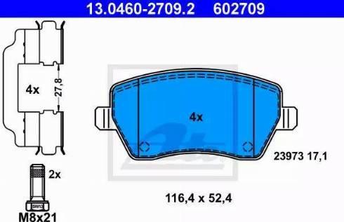 ATE 13.0460-2709.2 - Kit de plaquettes de frein, frein à disque www.widencarpieces.com