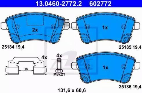 ATE 13.0460-2772.2 - Kit de plaquettes de frein, frein à disque www.widencarpieces.com