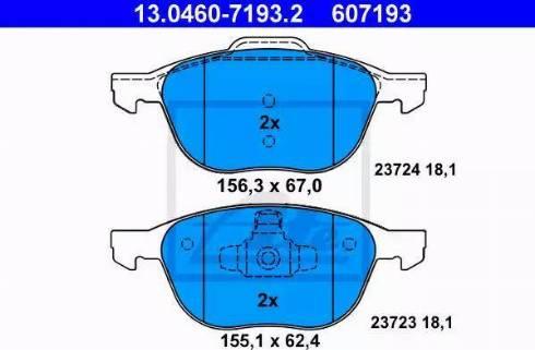 ATE 13.0460-7193.2 - Kit de plaquettes de frein, frein à disque www.widencarpieces.com
