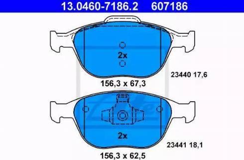 ATE 13.0460-7186.2 - Kit de plaquettes de frein, frein à disque www.widencarpieces.com