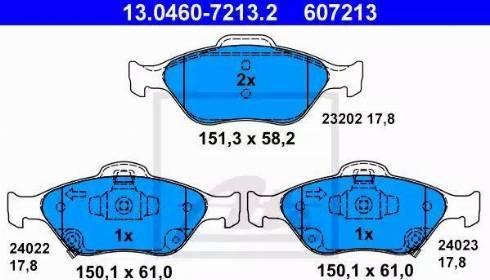 ATE 13.0460-7213.2 - Kit de plaquettes de frein, frein à disque www.widencarpieces.com