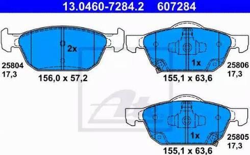 ATE 13.0460-7284.2 - Kit de plaquettes de frein, frein à disque www.widencarpieces.com