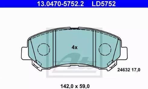 ATE 13.0470-5752.2 - Kit de plaquettes de frein, frein à disque www.widencarpieces.com