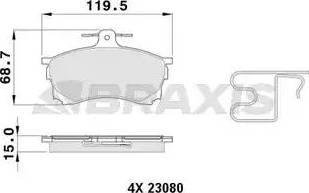 Braxis AB0383 - Kit de plaquettes de frein, frein à disque www.widencarpieces.com