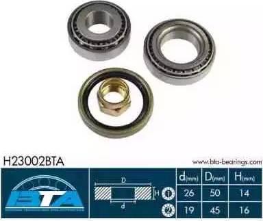 BTA H23002BTA - Kit de roulements de roue www.widencarpieces.com