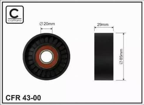 CAFFARO 43-00 - Poulie renvoi/transmission, courroie trapézoïdale à nervures www.widencarpieces.com