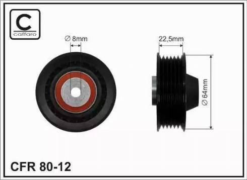 CAFFARO 80-12 - Poulie renvoi/transmission, courroie trapézoïdale à nervures www.widencarpieces.com