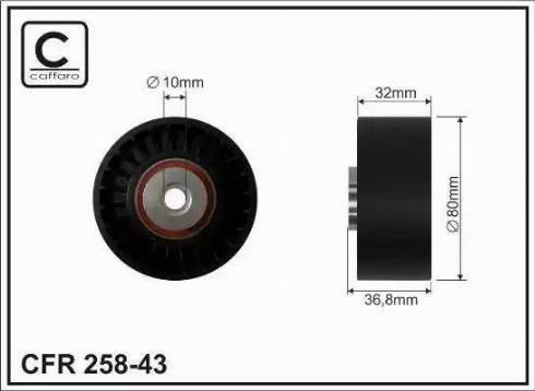CAFFARO 258-43 - Poulie renvoi/transmission, courroie trapézoïdale à nervures www.widencarpieces.com