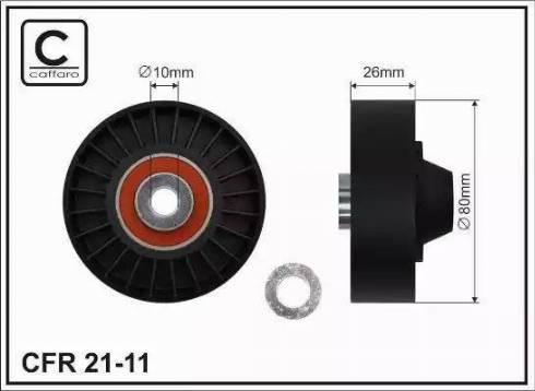 CAFFARO 21-11 - Poulie renvoi/transmission, courroie trapézoïdale à nervures www.widencarpieces.com