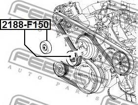 Febest 2188-F150 - Poulie renvoi/transmission, courroie trapézoïdale à nervures www.widencarpieces.com