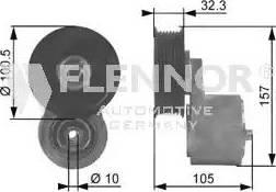 Flennor FA99054 - Poulie-tendeur, courroie trapézoïdale à nervures www.widencarpieces.com