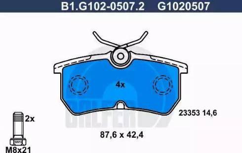 Galfer B1.G102-0507.2 - Kit de plaquettes de frein, frein à disque www.widencarpieces.com