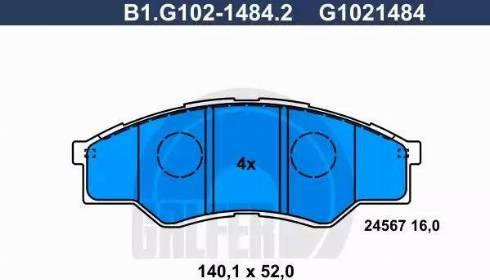 Galfer B1.G102-1484.2 - Kit de plaquettes de frein, frein à disque www.widencarpieces.com