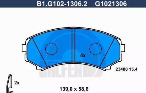 Galfer B1.G102-1306.2 - Kit de plaquettes de frein, frein à disque www.widencarpieces.com