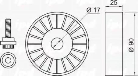 IPD 14-0406 - Poulie renvoi/transmission, courroie trapézoïdale à nervures www.widencarpieces.com