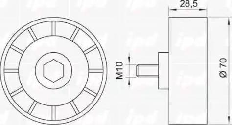 IPD 15-0168 - Poulie renvoi/transmission, courroie trapézoïdale à nervures www.widencarpieces.com