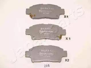 Japanparts PA-281AF - Kit de plaquettes de frein, frein à disque www.widencarpieces.com