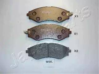 Japanparts PA-W05AF - Kit de plaquettes de frein, frein à disque www.widencarpieces.com
