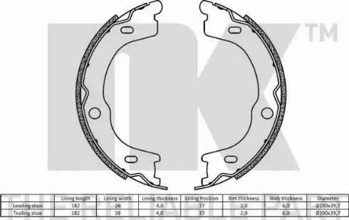 NK 2735791 - Jeu de mâchoires de frein, frein de stationnement www.widencarpieces.com