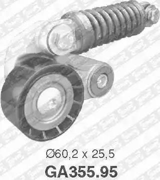 SNR GA355.95 - Poulie-tendeur, courroie trapézoïdale à nervures www.widencarpieces.com