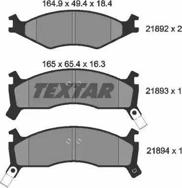 Textar 2189202 - Kit de plaquettes de frein, frein à disque www.widencarpieces.com