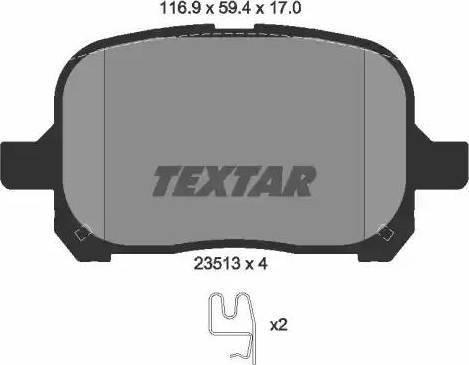 Textar 2351302 - Kit de plaquettes de frein, frein à disque www.widencarpieces.com