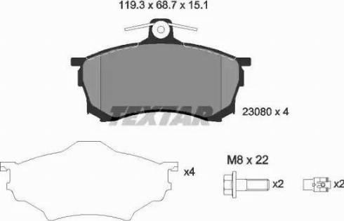 Textar 2308001 - Kit de plaquettes de frein, frein à disque www.widencarpieces.com