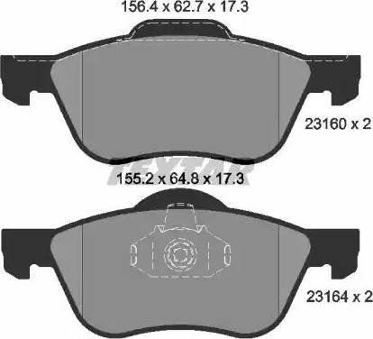 Textar 2316001 - Kit de plaquettes de frein, frein à disque www.widencarpieces.com