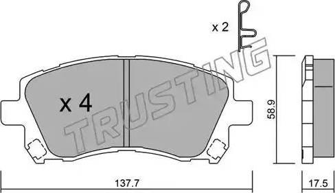 Trusting 305.0 - Kit de plaquettes de frein, frein à disque www.widencarpieces.com