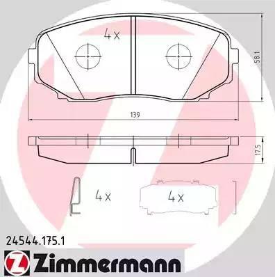 Zimmermann 24544.175.1 - Kit de plaquettes de frein, frein à disque www.widencarpieces.com