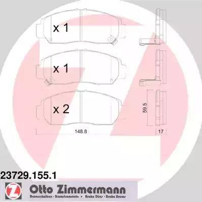 Zimmermann 23729.155.1 - Kit de plaquettes de frein, frein à disque www.widencarpieces.com