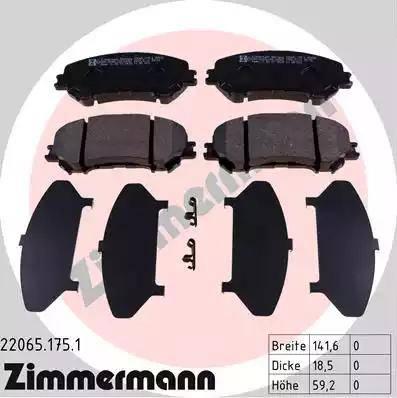Zimmermann 22065.175.1 - Kit de plaquettes de frein, frein à disque www.widencarpieces.com